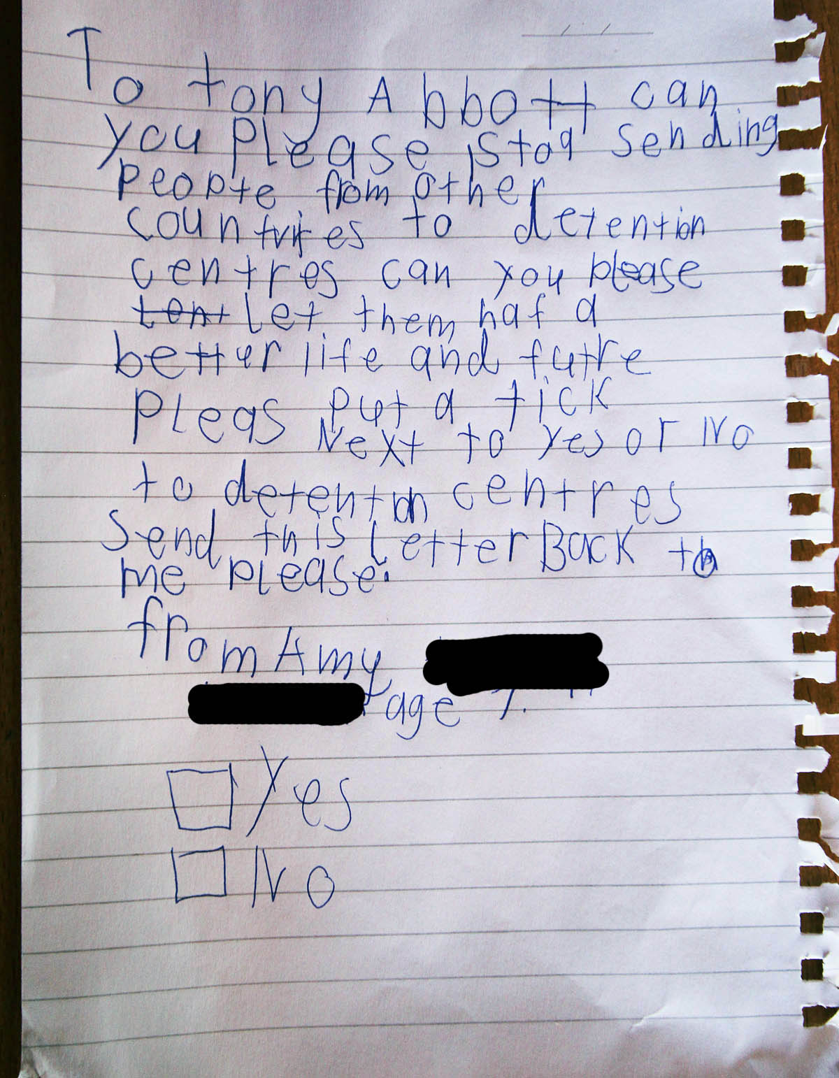 Amy's Letter to Tony Abbott