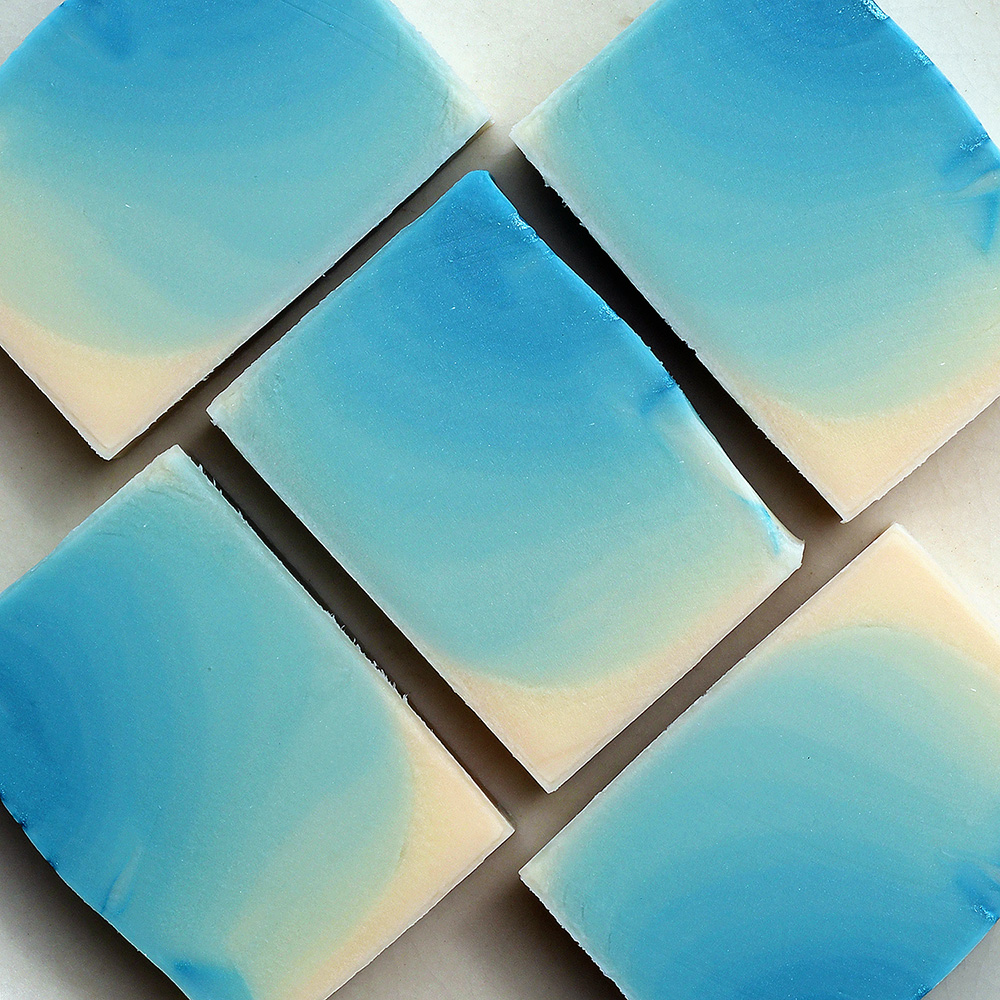 Blue ombre style soap. Mint and rosemary scented.